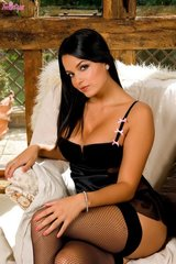 Sasha hot naked babe in sexy black pantyhose